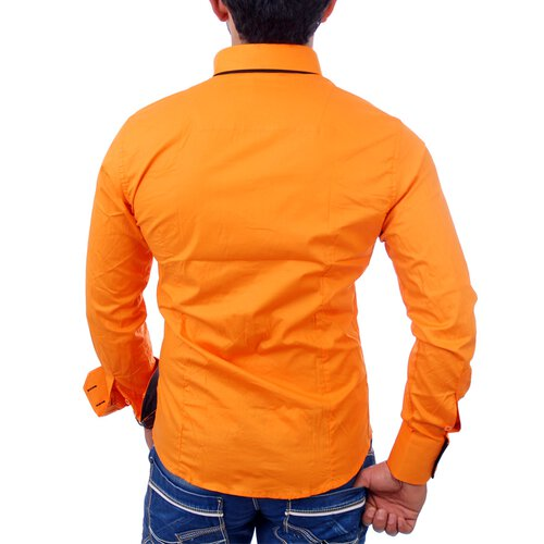 Reslad Herren Langarm Hemd Alabama RS-7050 Orange-Schwarz L