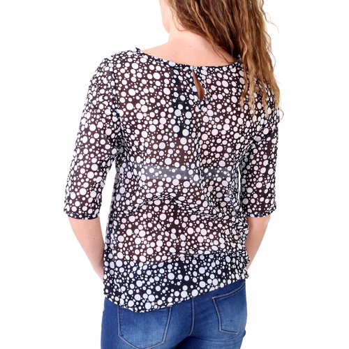 Madonna Bluse Damen COURTNEY Allover Print Gepunktet MF-407002-V1 Schwarz