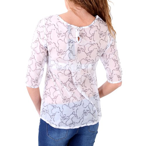 Madonna Bluse Damen COURTNEY Allover Schleifen Print MF-407002-V2 Weiß